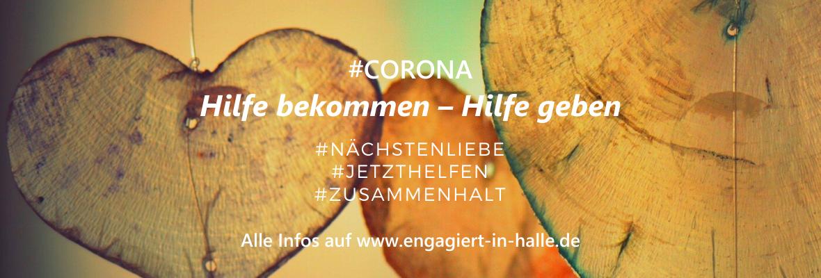 Ein Werbebanner für die Website www.engagiert-in-halle.de/corona