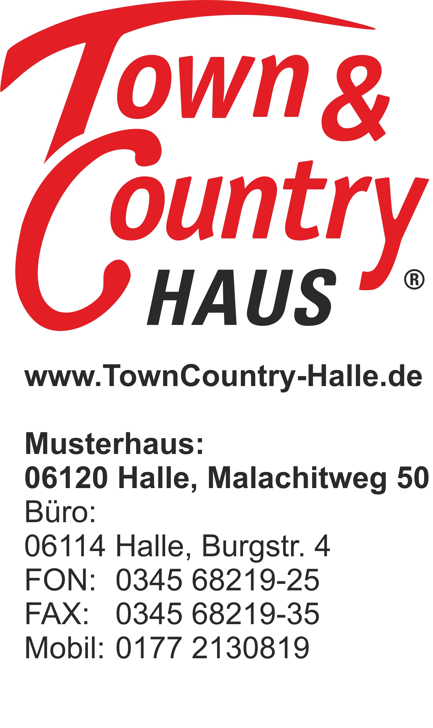 Logo Town & Country Haus mit Adressblock