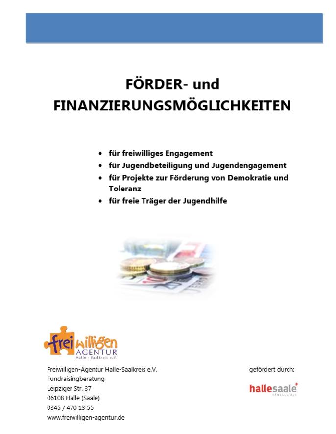 Deckblatt der Fördermittelübersicht