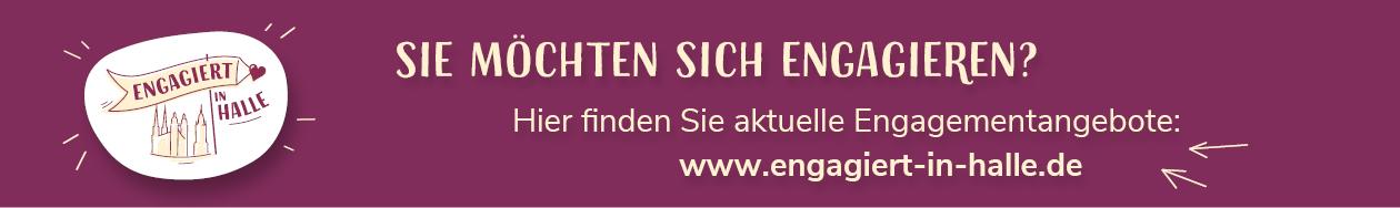 Ein Werbebanner für die Website www.engagiert-in-halle.de